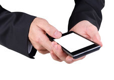 Hand and mobilephone. Closeup image of business man holding mobilephone Royalty Free Stock Photos