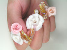 Hand Model Roses Nail Art. Ultra 3 Dimensional Nail Art Roses on Glitter Nail Tips royalty free stock images