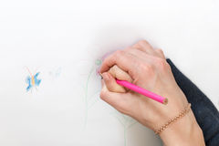 Hand mom and baby draw Royalty Free Stock Image