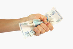 A hand with money. A hand hold money close up isolated on a white background Stock Photography
