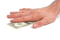 Hand and money. Man's hand and money against white background Royalty Free Stock Photography