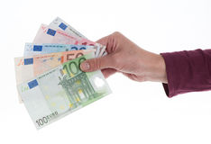 Hand with money. Hand with Euros, close up Stock Photos
