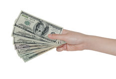 Hand and money. Hand holding US money isolated on white background Stock Photography