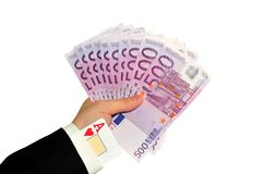 Hand with money and as Royalty Free Stock Photos
