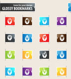 Hand and Money Bookmark Icons Royalty Free Stock Image
