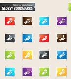 Hand and Money Bookmark Icons Royalty Free Stock Photos