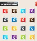 Hand and Money Bookmark Icons Stock Photo