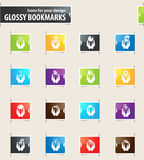 Hand and Money Bookmark Icons Royalty Free Stock Photo