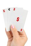 Hand and money cards Stock Image
