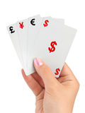 Hand and money cards Royalty Free Stock Photography