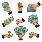 Hand and money banknotes and golden coins dollars and cents vector payment icons. Hand and money cash dollar banknotes and coins icons for bank or online banking Stock Photo
