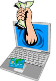 Hand money coming out laptop. Vector illustration on the concept of e-commerce showing a hand coming out of a laptop computer with money