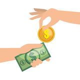 Hand money currency cash isolated Royalty Free Stock Photos