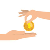 Hand money currency cash isolated Royalty Free Stock Photography
