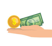 Hand money currency cash isolated Stock Image