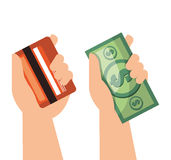 Hand money currency credit card isolated Royalty Free Stock Image