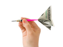 Hand and money darts Royalty Free Stock Photo