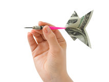 Hand and money darts Royalty Free Stock Image