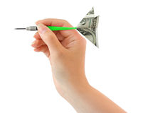 Hand and money darts Royalty Free Stock Photos