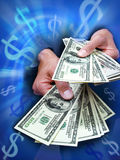 Hand Money Dollars Business. A business man holding a large quantity of money in his hands with blue dollar symbols Royalty Free Stock Photo