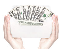 Hand and money in envelope isolated Stock Photography