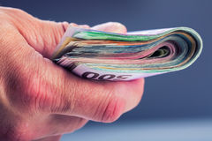 Hand with money. stock photography