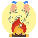 Hand money fire. Cash flow. Banknotes fly away into fire. Bankruptcy and the collapse of the monetary system. Flat vector cartoon cash flow illustration. Objects Stock Photography