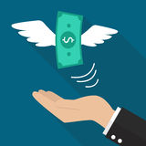 Hand with money fly Stock Photos