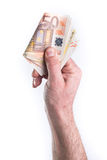 Hand money giving. Hand show or give money on white background Royalty Free Stock Photo