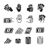 Hand and money icon set. Vector illustration Graphic Design symbol Stock Images