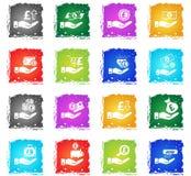 Hand and money icon set Stock Photo