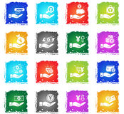Hand and money icon set Royalty Free Stock Photo