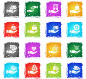 Hand and money icon set Royalty Free Stock Photography