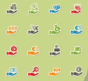 Hand and money icon set. Hand and money web icons for user interface design Stock Image