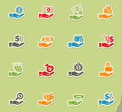Hand and money icon set. Hand and money web icons for user interface design Stock Photos