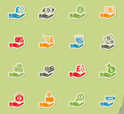 Hand and money icon set. Hand and money web icons for user interface design Royalty Free Stock Images
