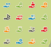 Hand and money icon set Stock Images