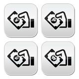 Hand with money icon - yuan, peso, wan, rouble Royalty Free Stock Photo