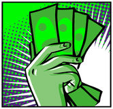 Hand with money isolated Royalty Free Stock Photo