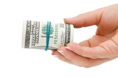 Hand with money isolated over white Stock Photography