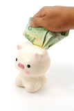 Hand with money and piggy bank Royalty Free Stock Images