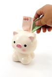 Hand with money and piggy bank Royalty Free Stock Photos