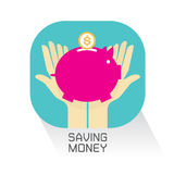 Hand Money Piggy Bank set yo Vector Illustration Stock Image