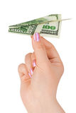 Hand and money plane Royalty Free Stock Photos