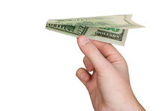 Hand and money plane Stock Images