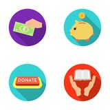 Hand with money for poshestvovaniya, a piggy bank for charity, a button with an inscription, a book for the blind in Royalty Free Stock Photos