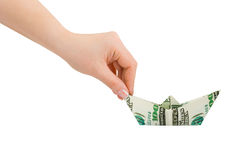 Hand and money ship Royalty Free Stock Images