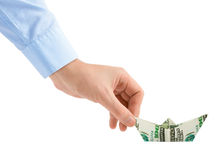 Hand with money ship Royalty Free Stock Images