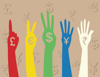 Hand money sign Stock Photos