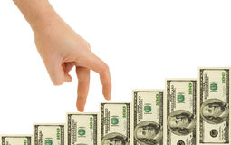 Hand and money staircase Stock Image